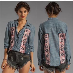 Free People• Born Free Chambray Jean Blouse